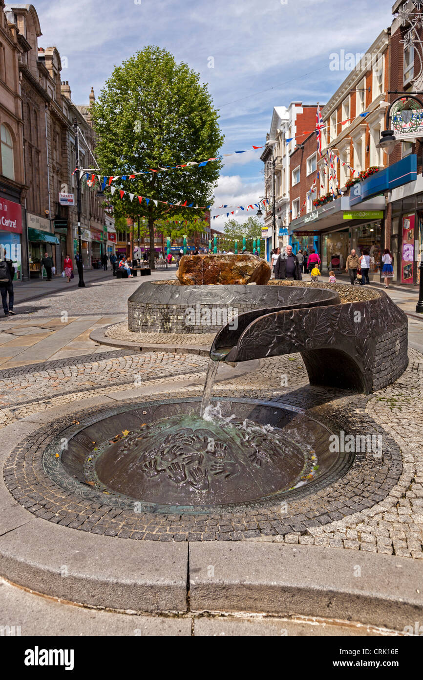The River of Life project was developed in the aftermath of the 1993 IRA bomb in Warrington, which killed two boys - Stock Image
