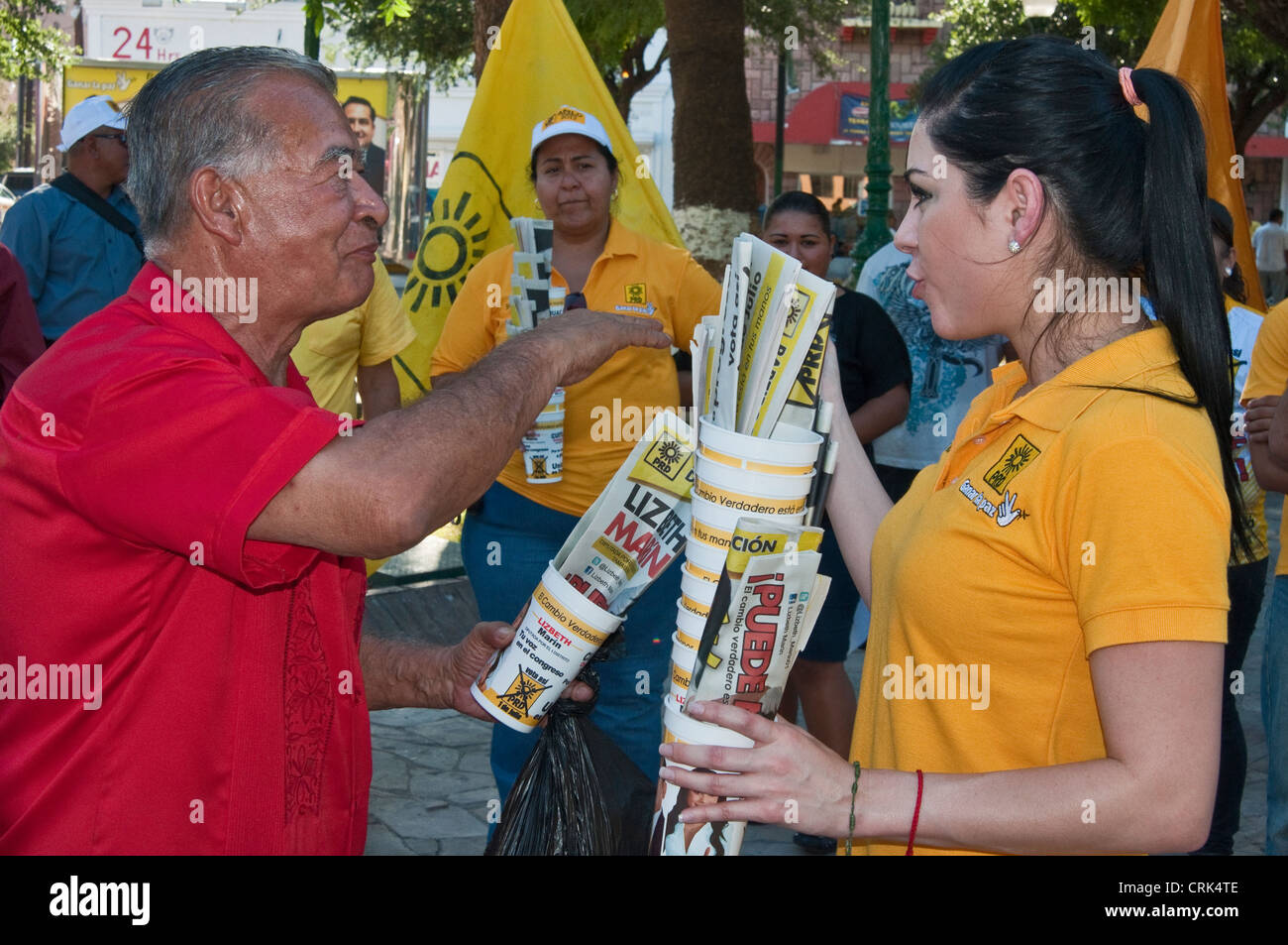 Lizbeth Marin Sanchez, Party of Democratic Revolution candidate for Congress 2012 elections, campaigning in Nuevo - Stock Image