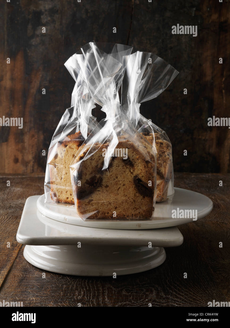 Breads in cellophane gift bags - Stock Image