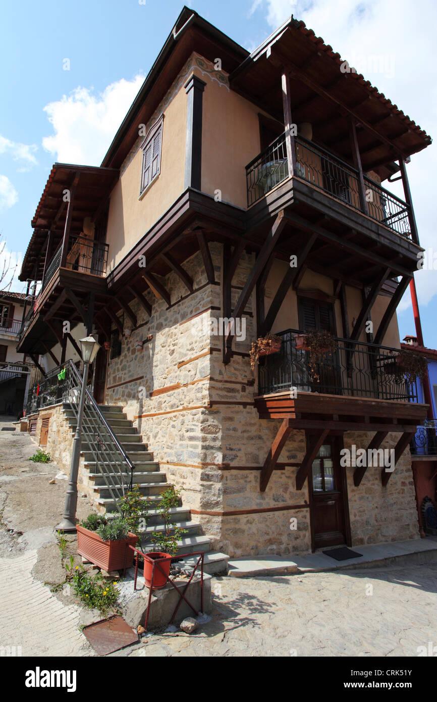 Traditional Macedonian architecture in Arnea, Chalkidiki, Greece. - Stock Image