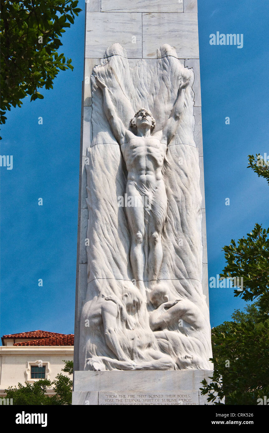 Cenotaph memorial to the Alamo defenders, by Pompeo Coppini, in San Antonio, Texas, USA - Stock Image