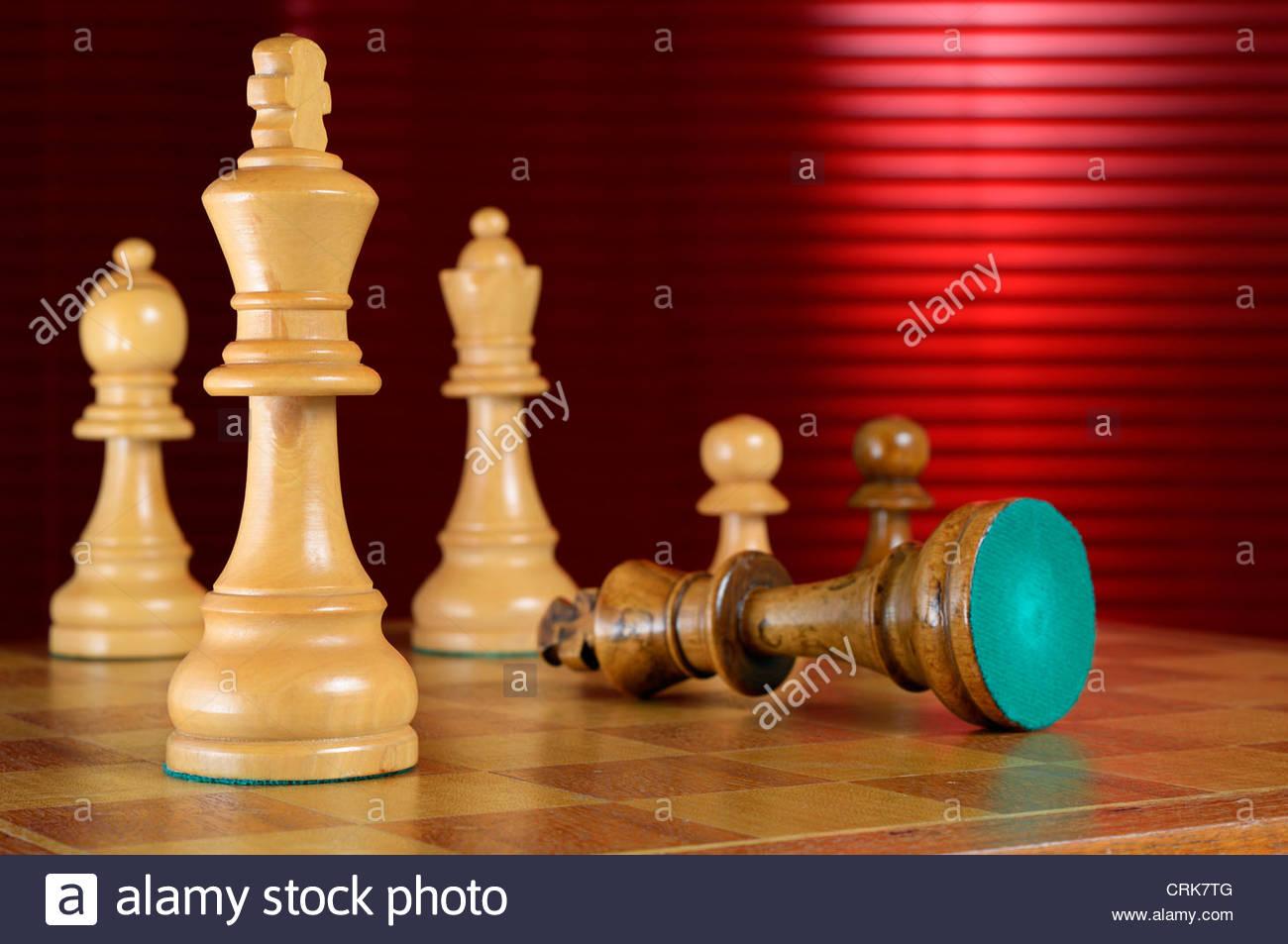Resignation during chess game, Staunton Chess, Dorset England - Stock Image
