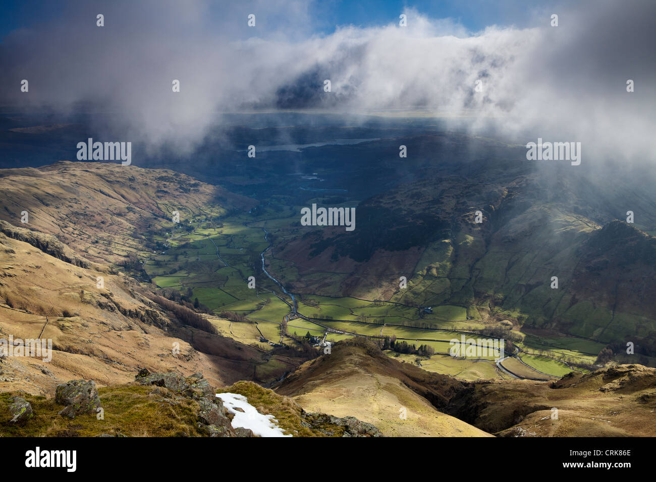 Langdale from the peak of Harrison Stickle, Langdale Pikes, Lakes District National Park, Cumbria, England - Stock Image