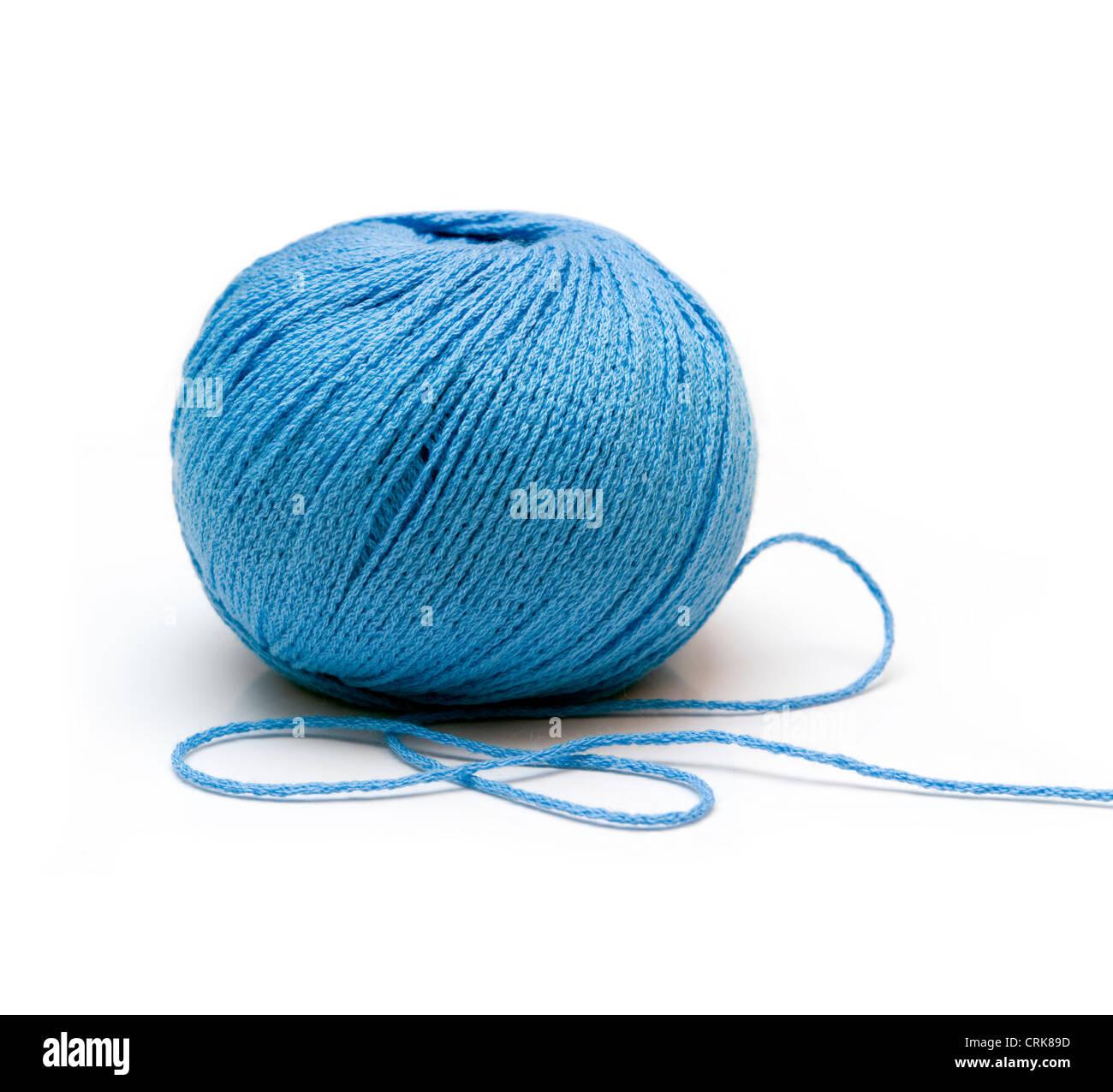 blue yarn ball on white background - isolated - Stock Image