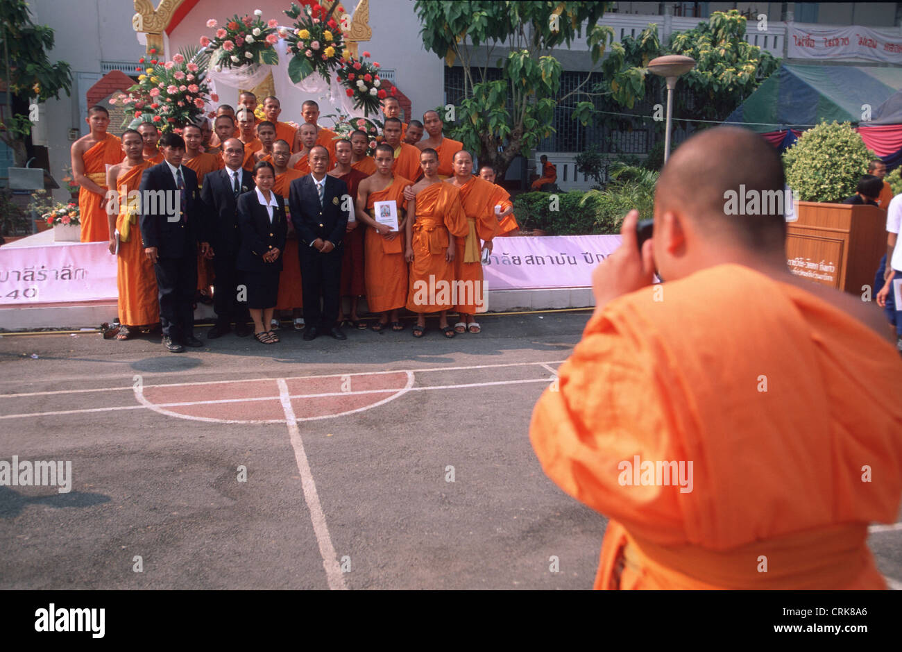 Thai monks in the group photo - Stock Image