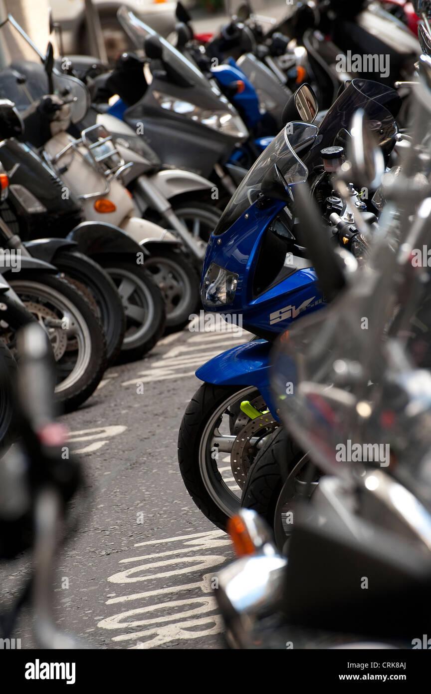 free motorcycle parking knightsbridge  Motorcycle Parking Area Stock Photos