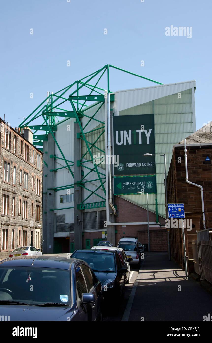 Part of the Easter Road Stadium, home to Hibernian (Hibs) Football Club in Edinburgh, Scotland. Stock Photo