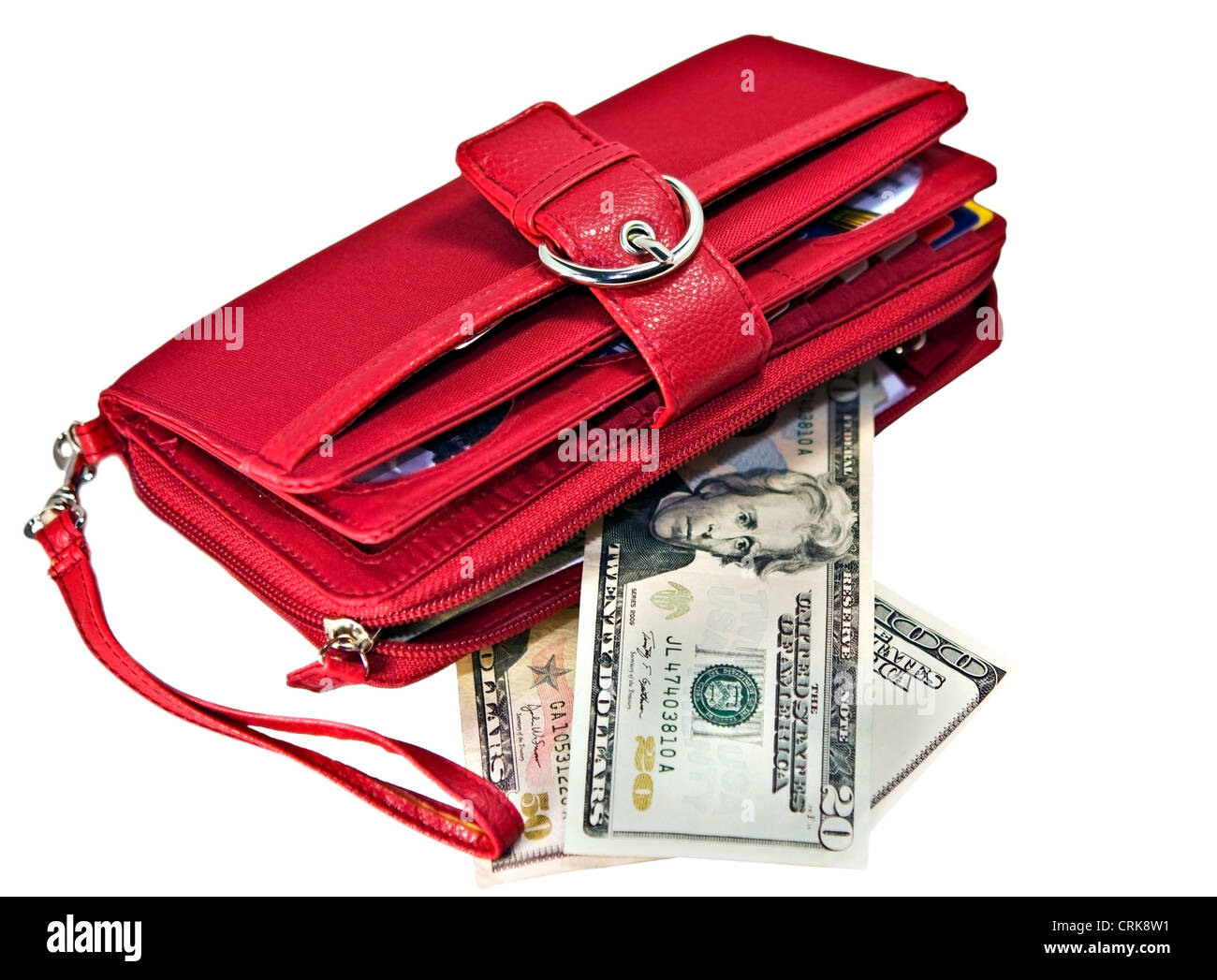 A red wallet with money and charge cards in side. - Stock Image