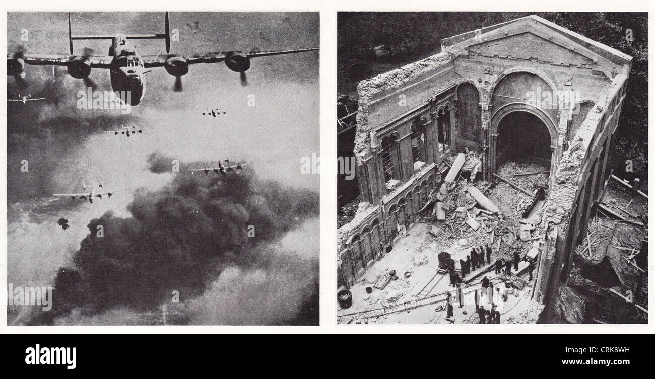 'Cause and Effect', a collage on the effects of aerial bombing - Stock Image