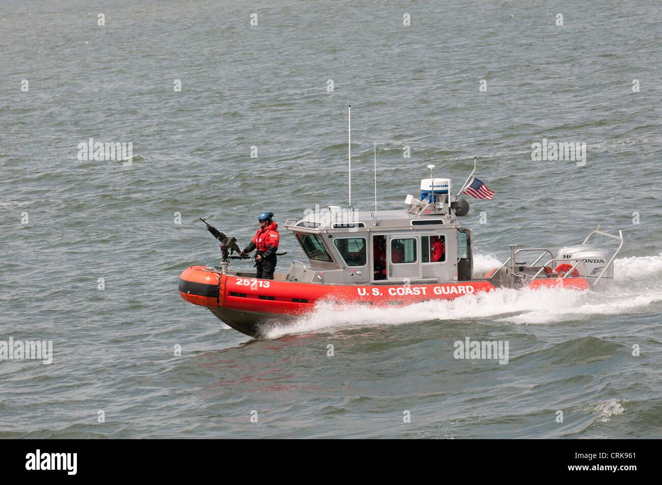 US Coast Guard patrol boat on New York Harbor NY USA - Stock Image