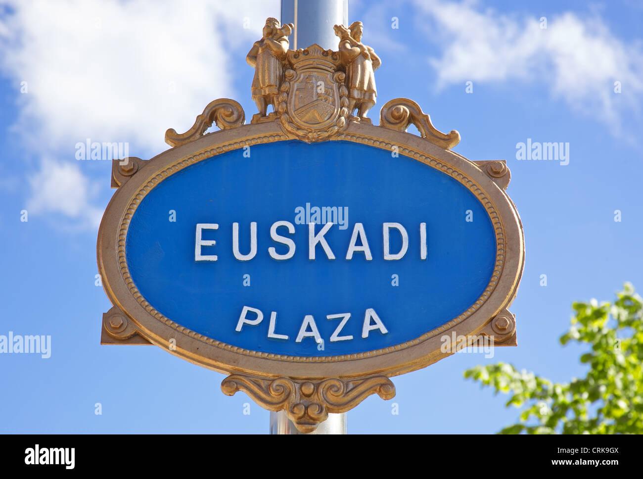 Euskadi Plaza plate at Bilbao - Stock Image