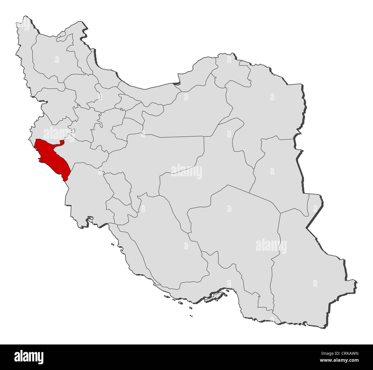 Ilam Iran Map Political map of Iran with the several provinces where Ilam is