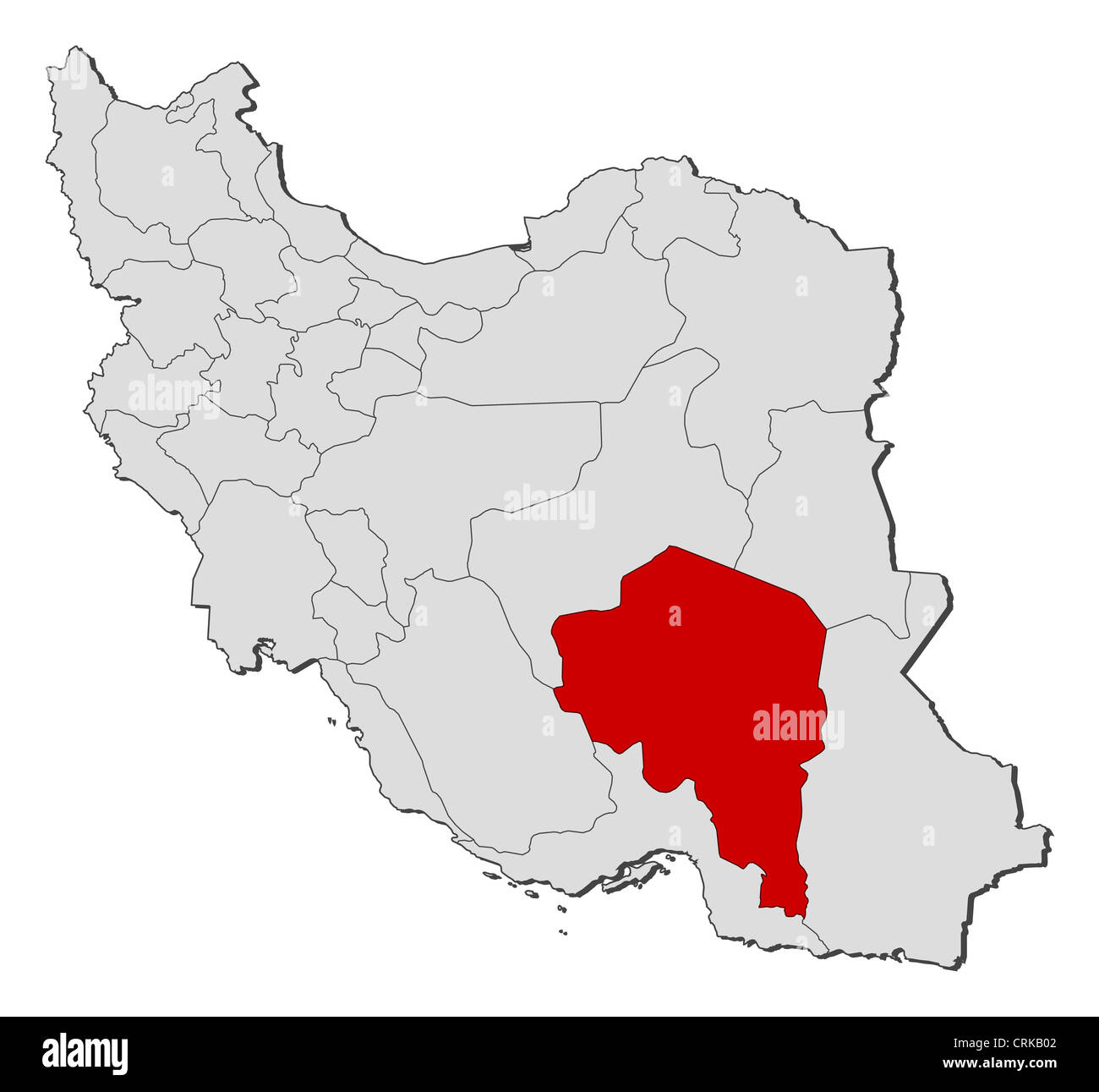 Political map of Iran with the several provinces where Kerman is