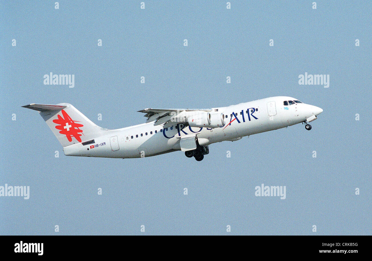 Crossair aircraft on departure from Berlin-Tegel - Stock Image