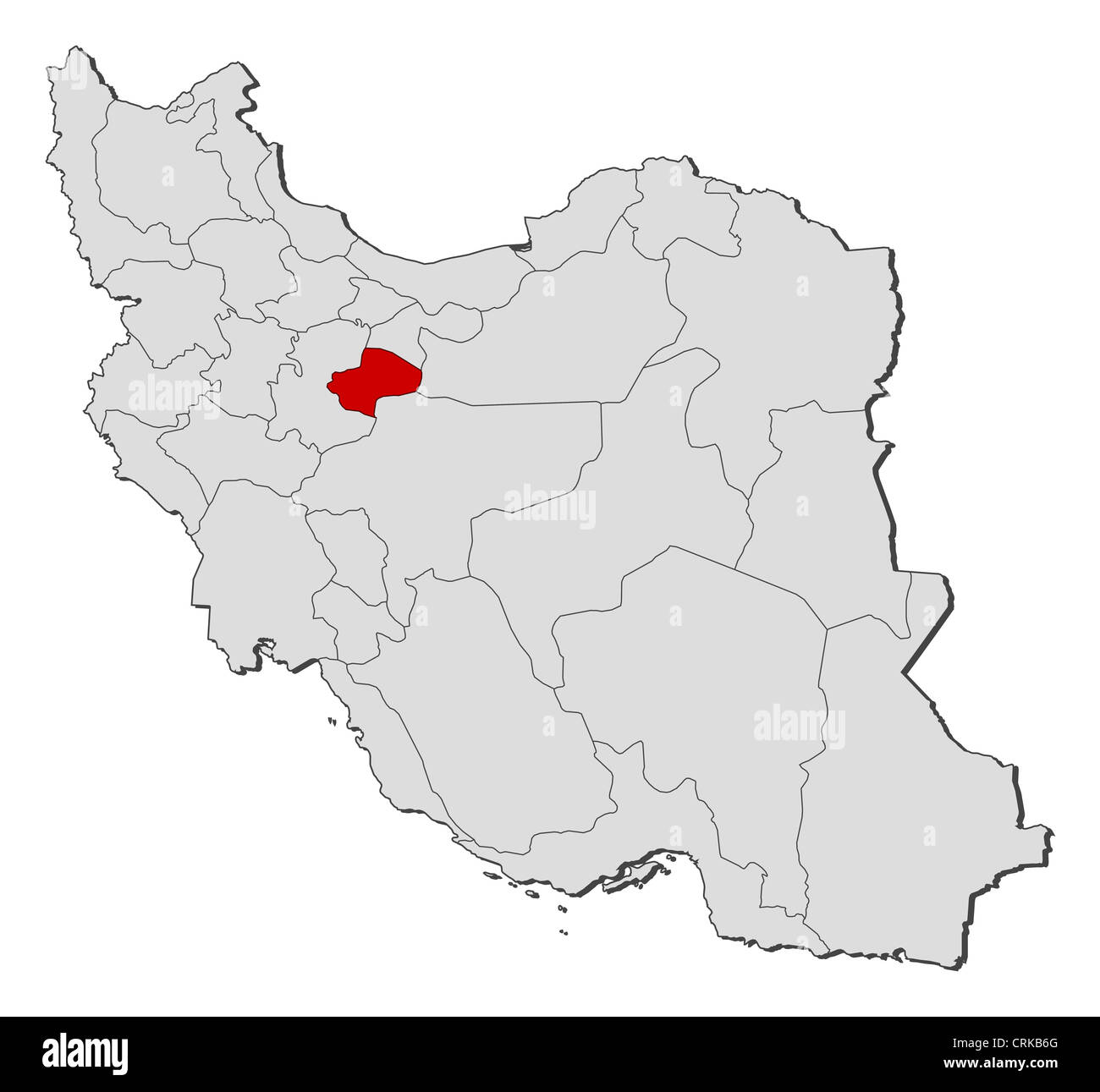 political map of iran with the several provinces where qom is highlighted stock image