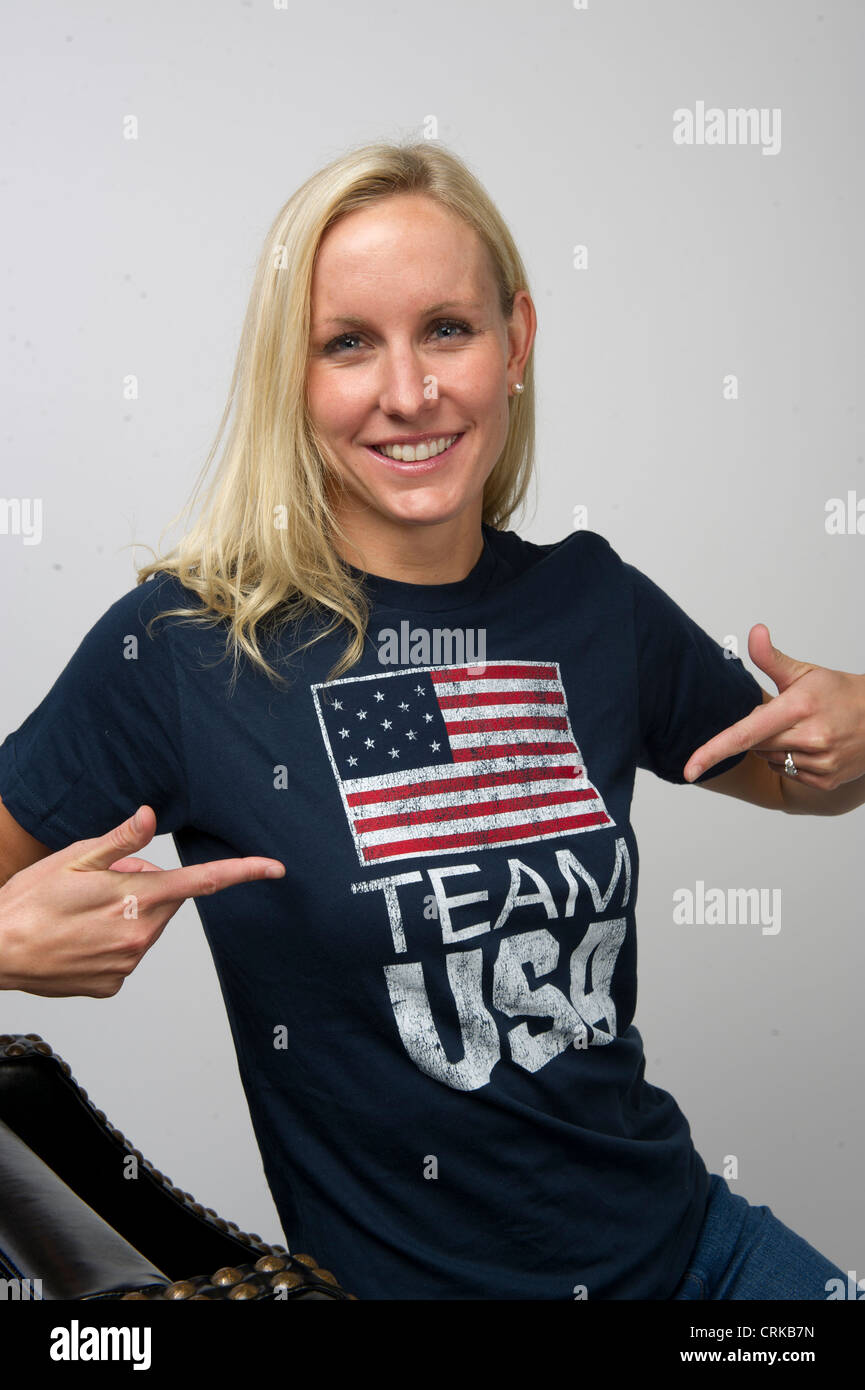 50 Freestyle swimmer Jessica Hardy poses at the Team USA Media Summit in Dallas, TX in advance of the 2012 London - Stock Image