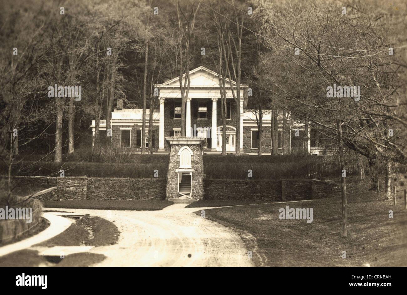 Nineteenth Century Fieldstone Greek Revival Mansion - Stock Image