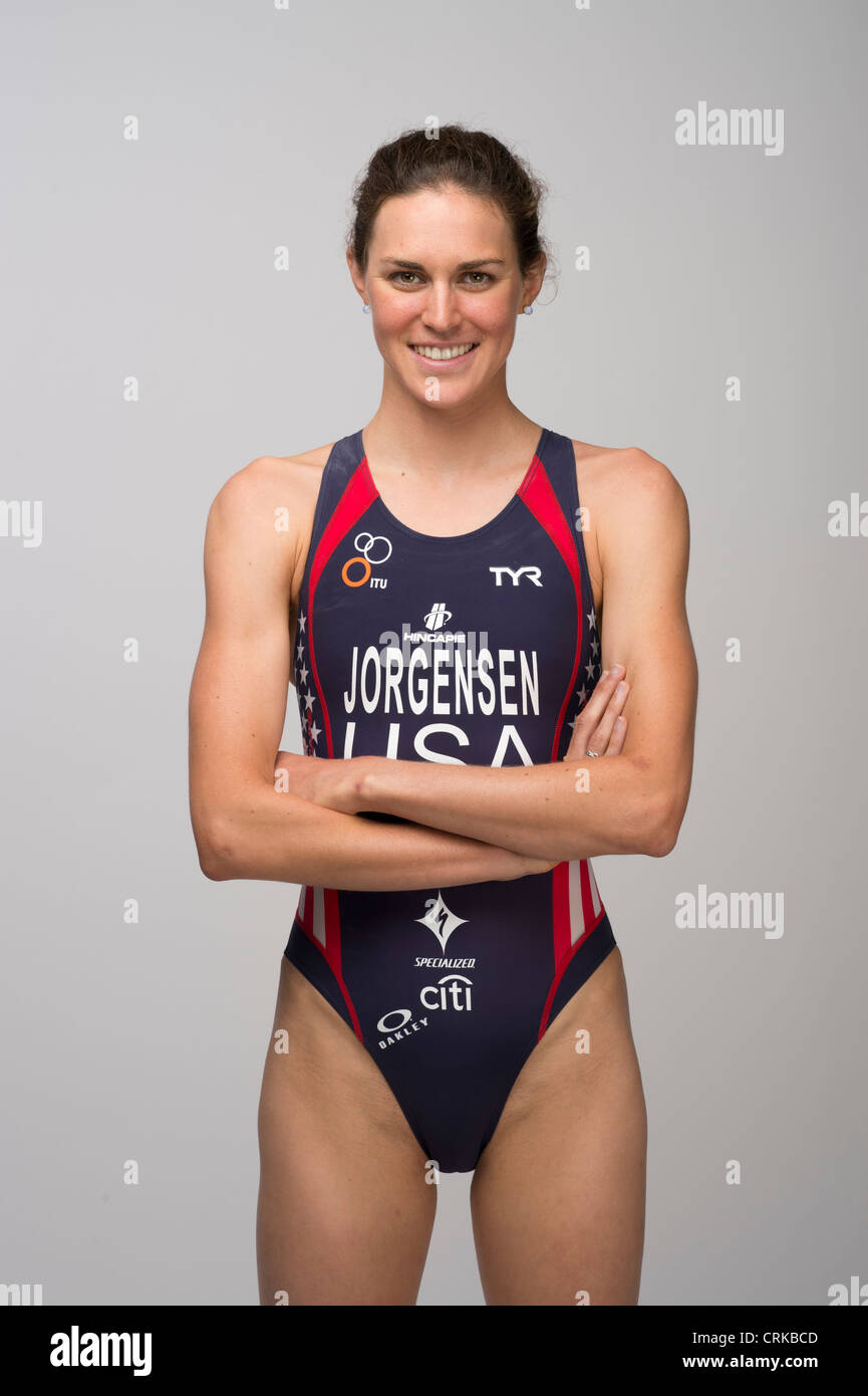 Triathlete Gwen Jorgensen at the Team USA Media Summit in Dallas, TX in advance of the 2012 London Olympics. - Stock Image