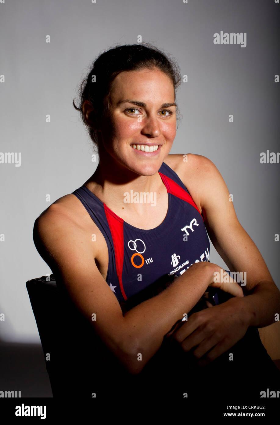 Triathlete Gwen Jorgensen at the Team USA Media Summit in Dallas, TX in advance of the 2012 London Olympics. Stock Photo