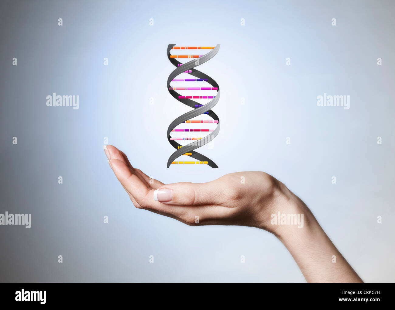 Hand holding strain of DNA - Stock Image