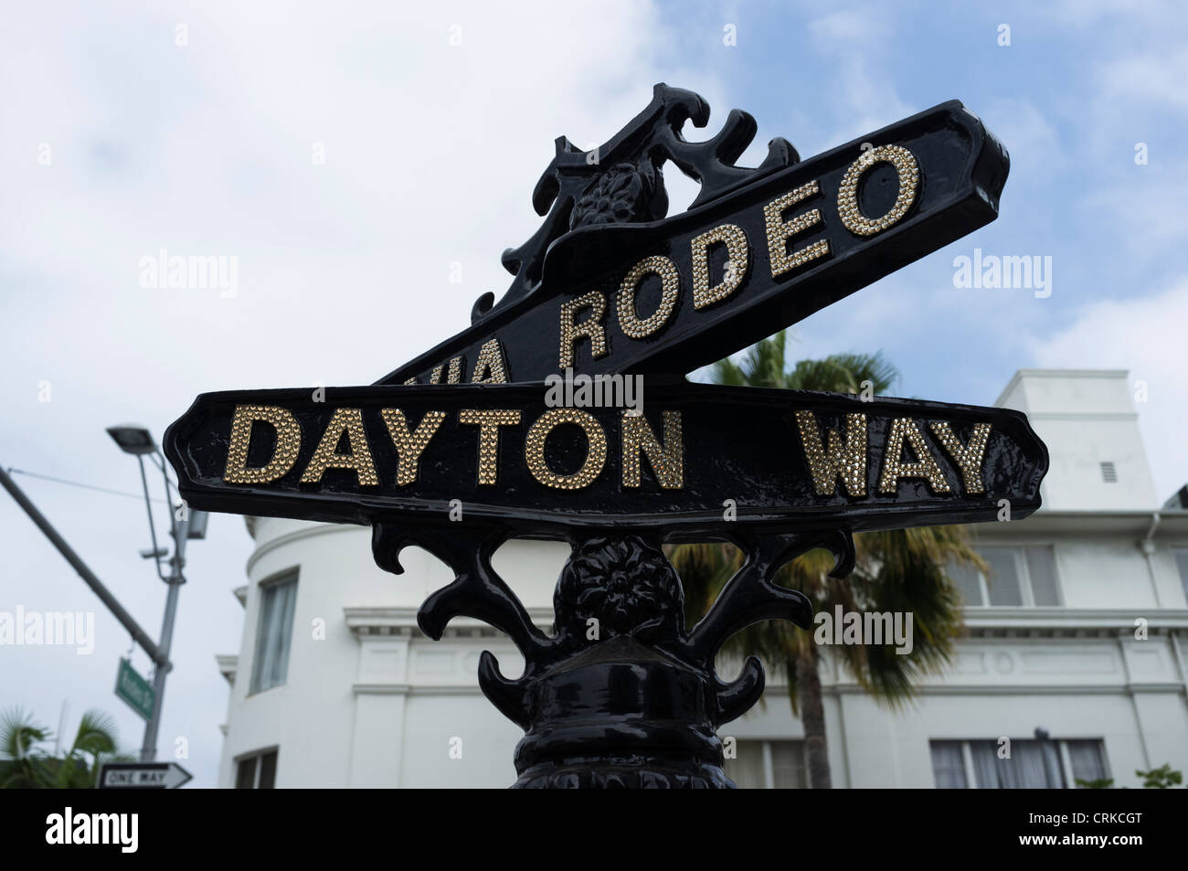 Via Rodeo and Dayton way road signs in Beverly Hills - Stock Image
