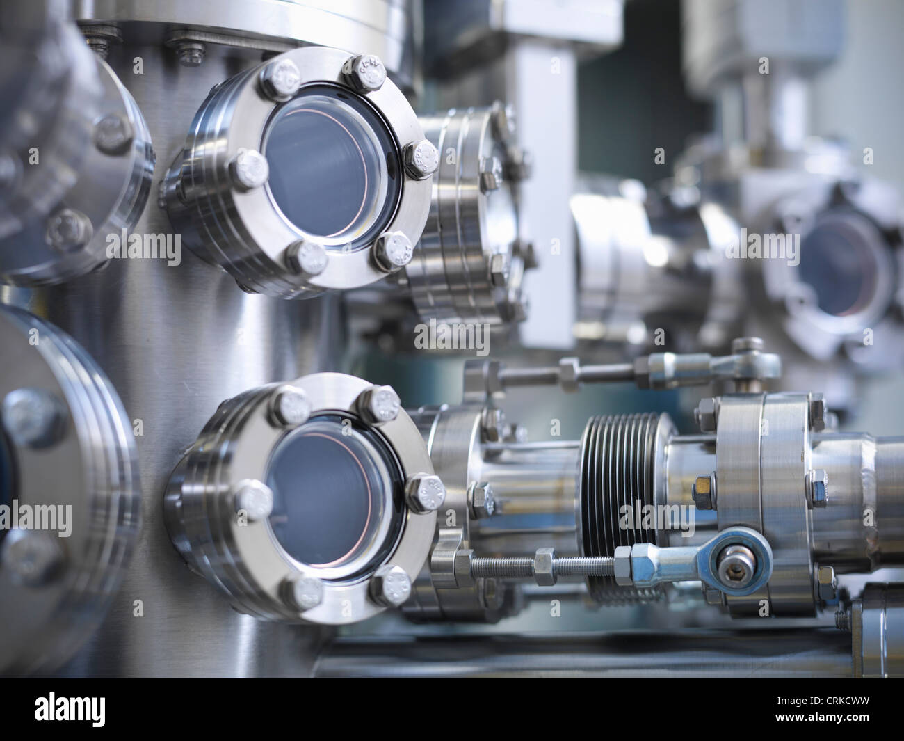 Close up of vacuum chamber in lab - Stock Image