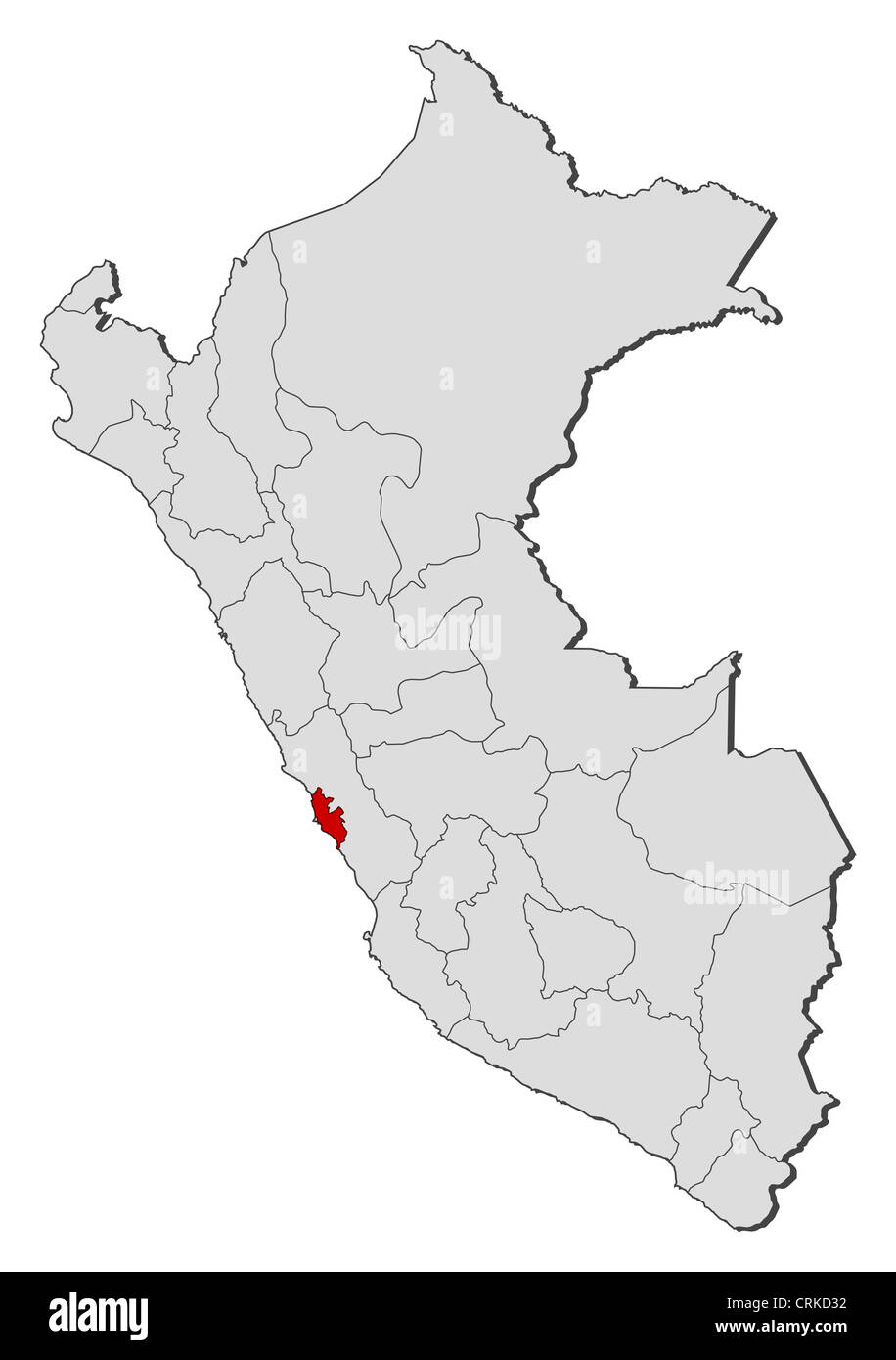 Political map of Peru with the several regions where Lima Region is highlighted. - Stock Image