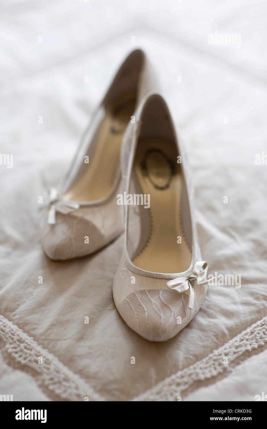 high heal or high healed wedding shoes Stock Photo