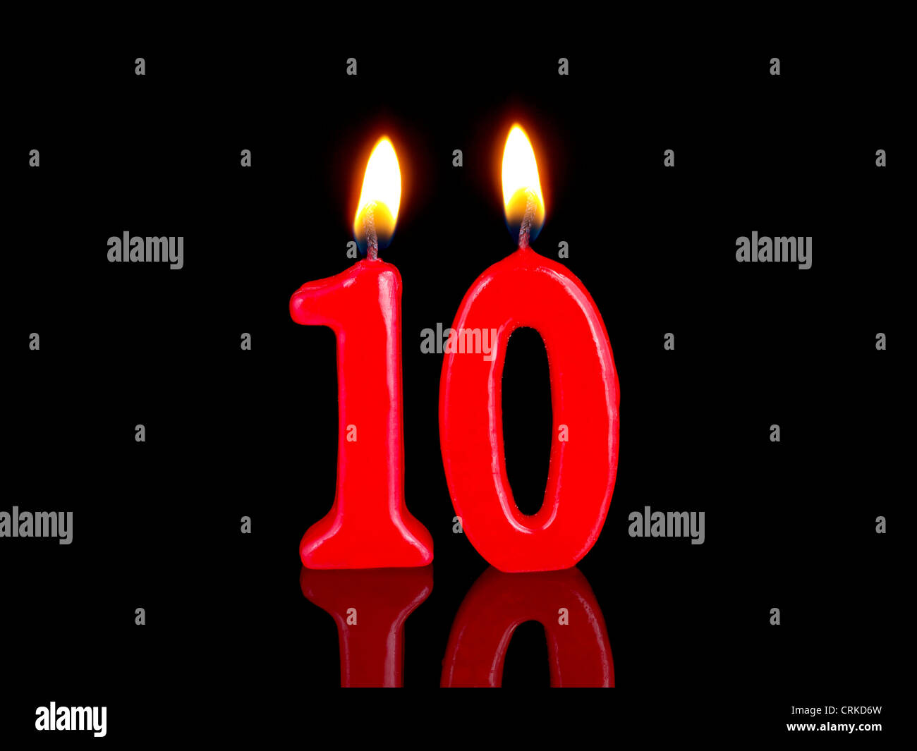 Birthday-anniversary candles showing Nr. 10 Stock Photo