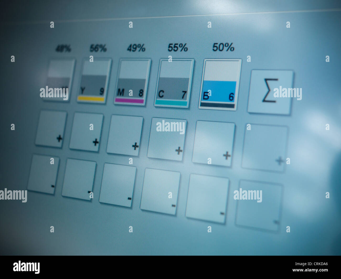 Close up of printing press ink levels - Stock Image