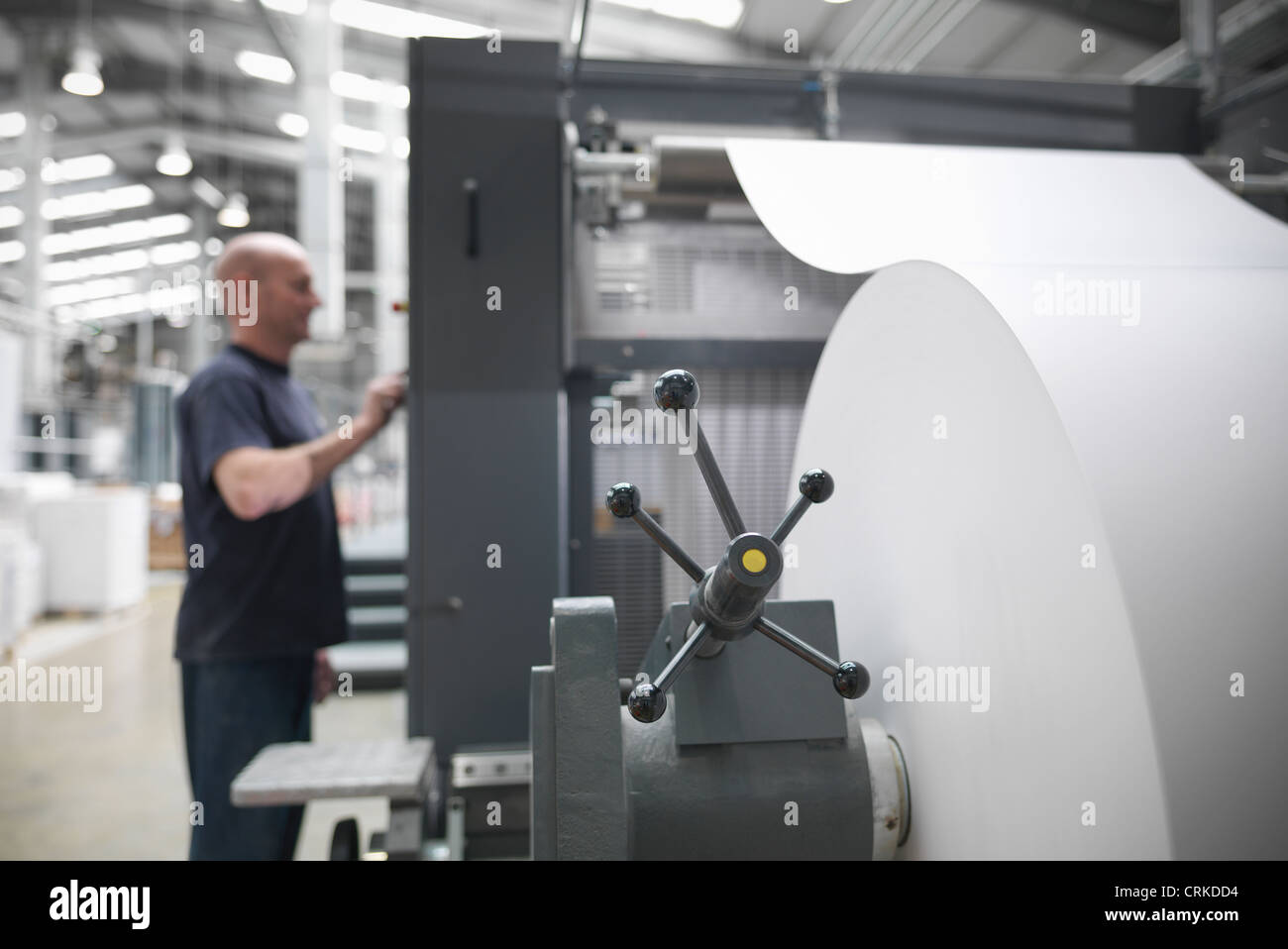 Paper feed of printing press - Stock Image