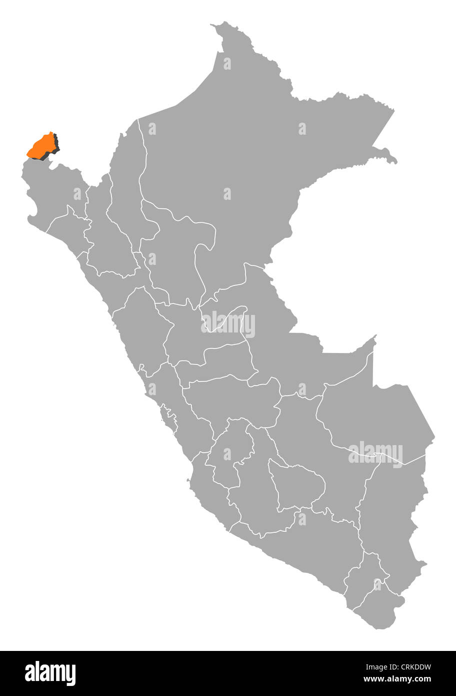 Political map of Peru with the several regions where Tumbes is