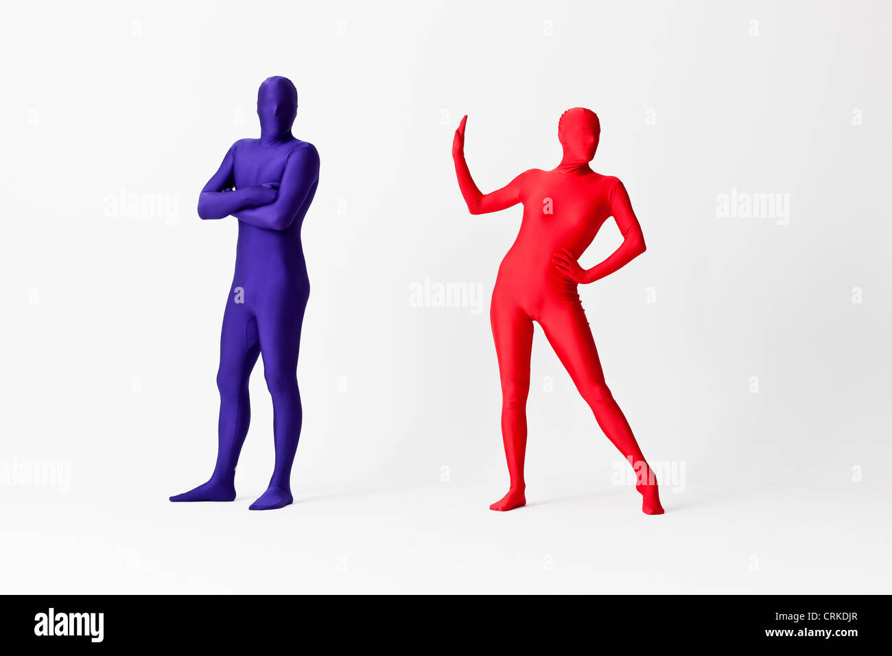 Couple in bodysuits arguing - Stock Image