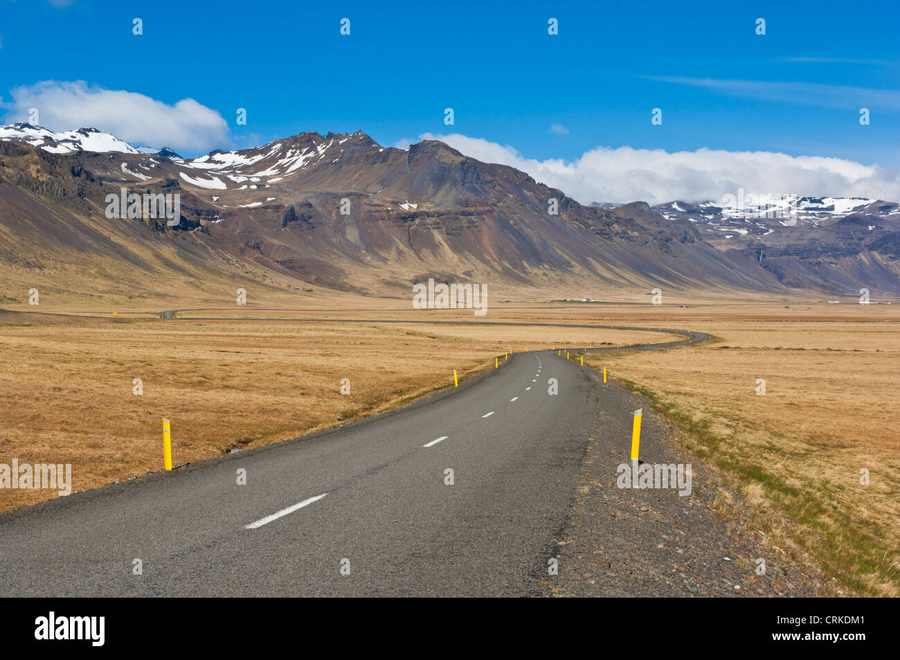 Empty road Snaefellsnes peninsula West Iceland EU Europe - Stock Image