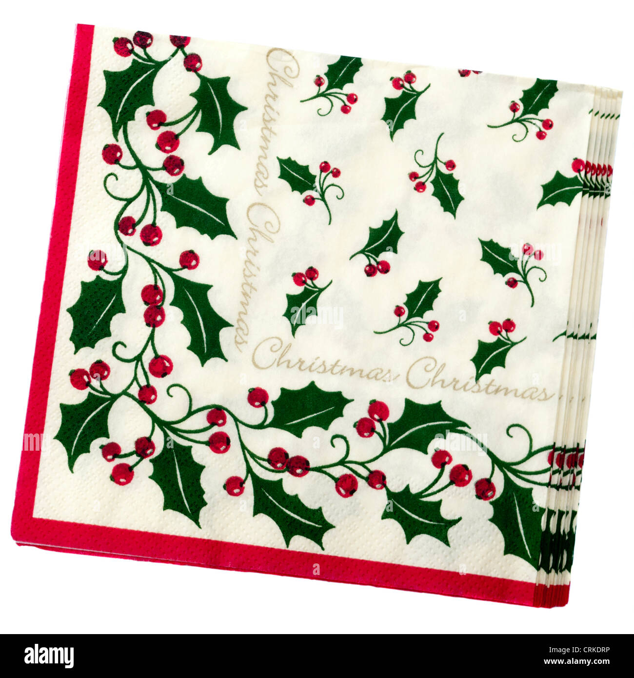 Christmas Napkins.Christmas Serviettes Xmas Festive Paper Napkins Stock Photo