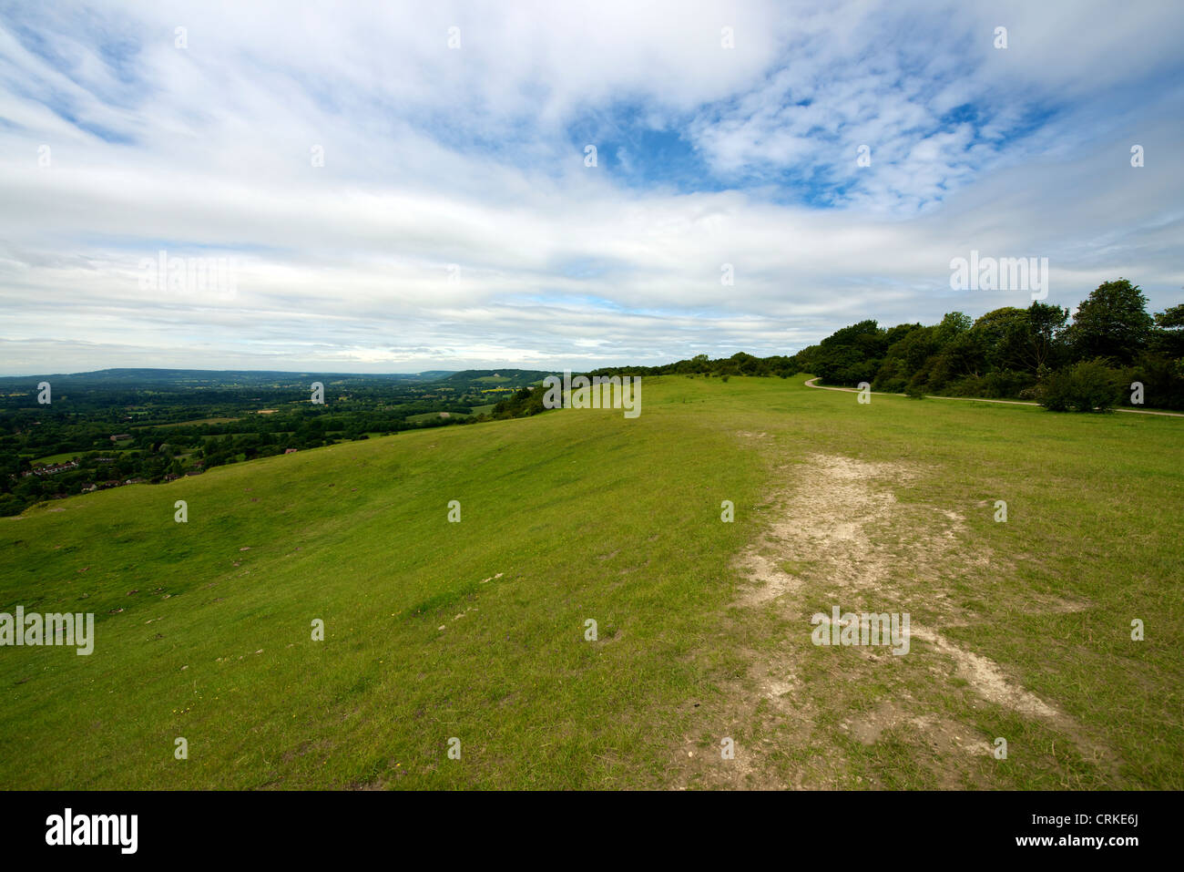 Landscape of Colley Hill on the chalk North Downs looking west towards Boxhill Dorking and Guildford - Stock Image