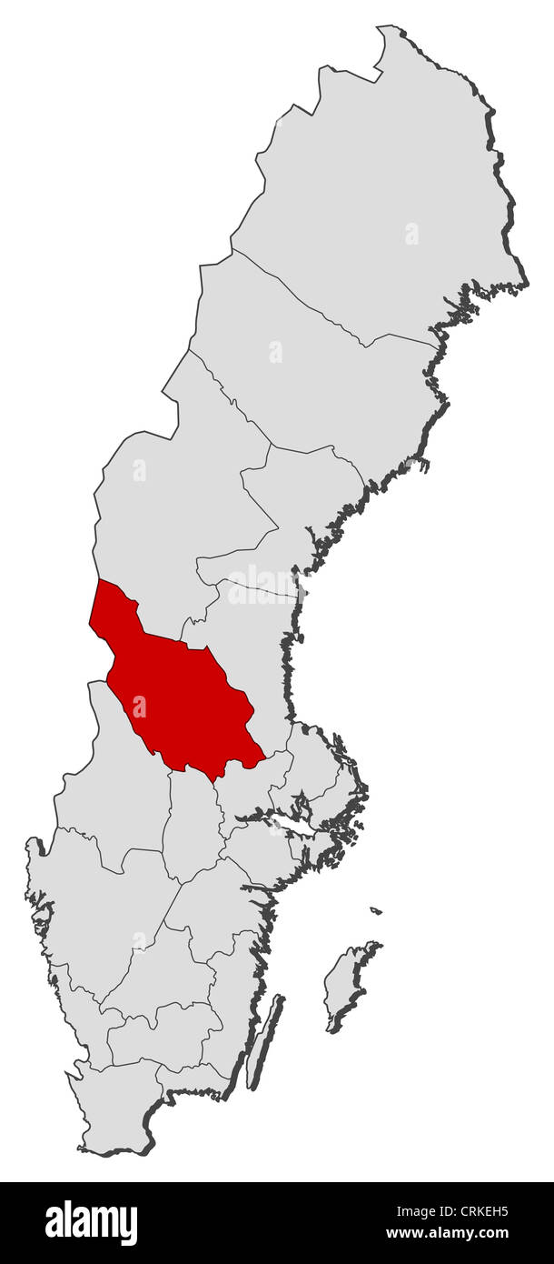 Political map of Sweden with the several provinces where Dalarna County is highlighted. - Stock Image