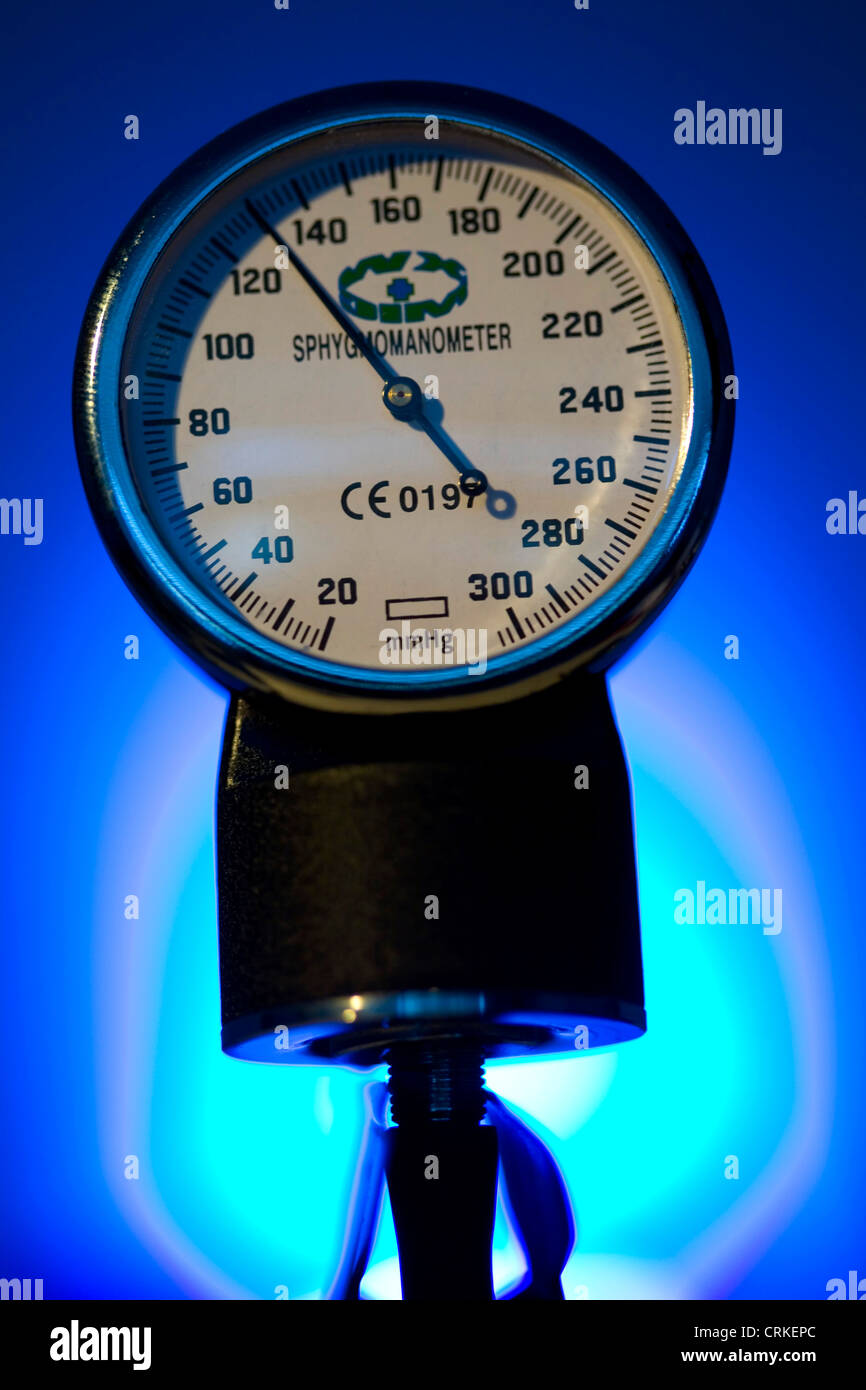 Sphygmomanometer, a instrument used to measure blood pressure - Stock Image
