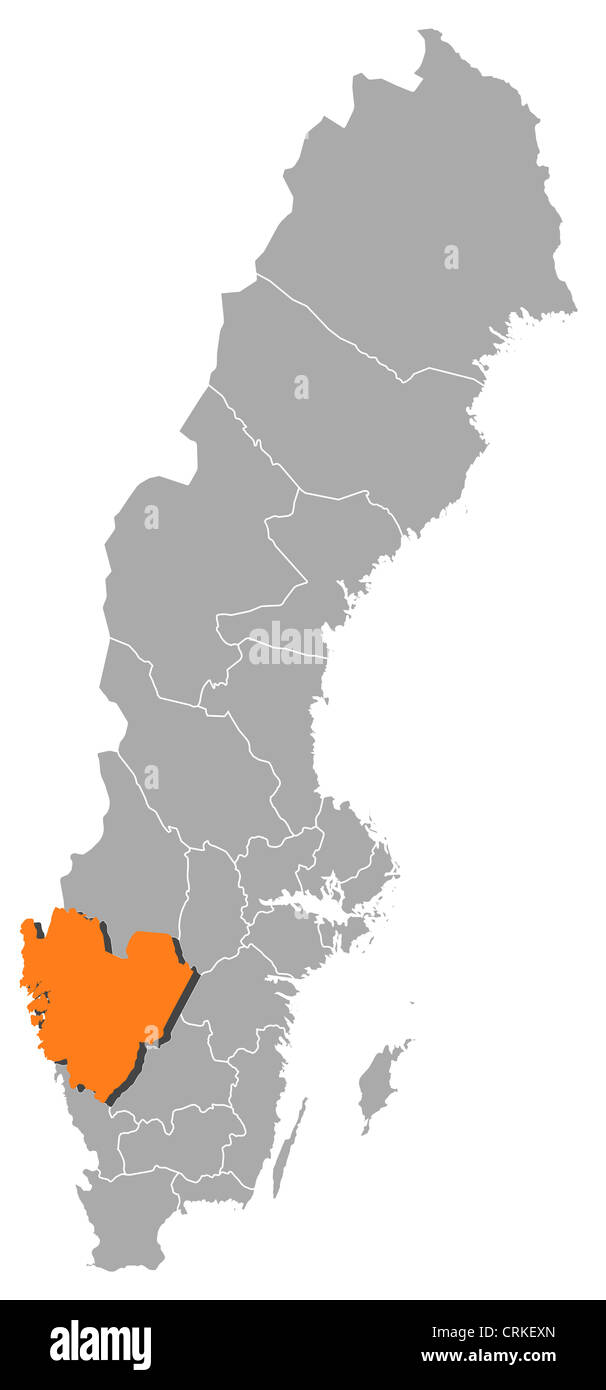 Political Map Of Sweden With The Several Provinces Where Vastra Stock Photo Alamy