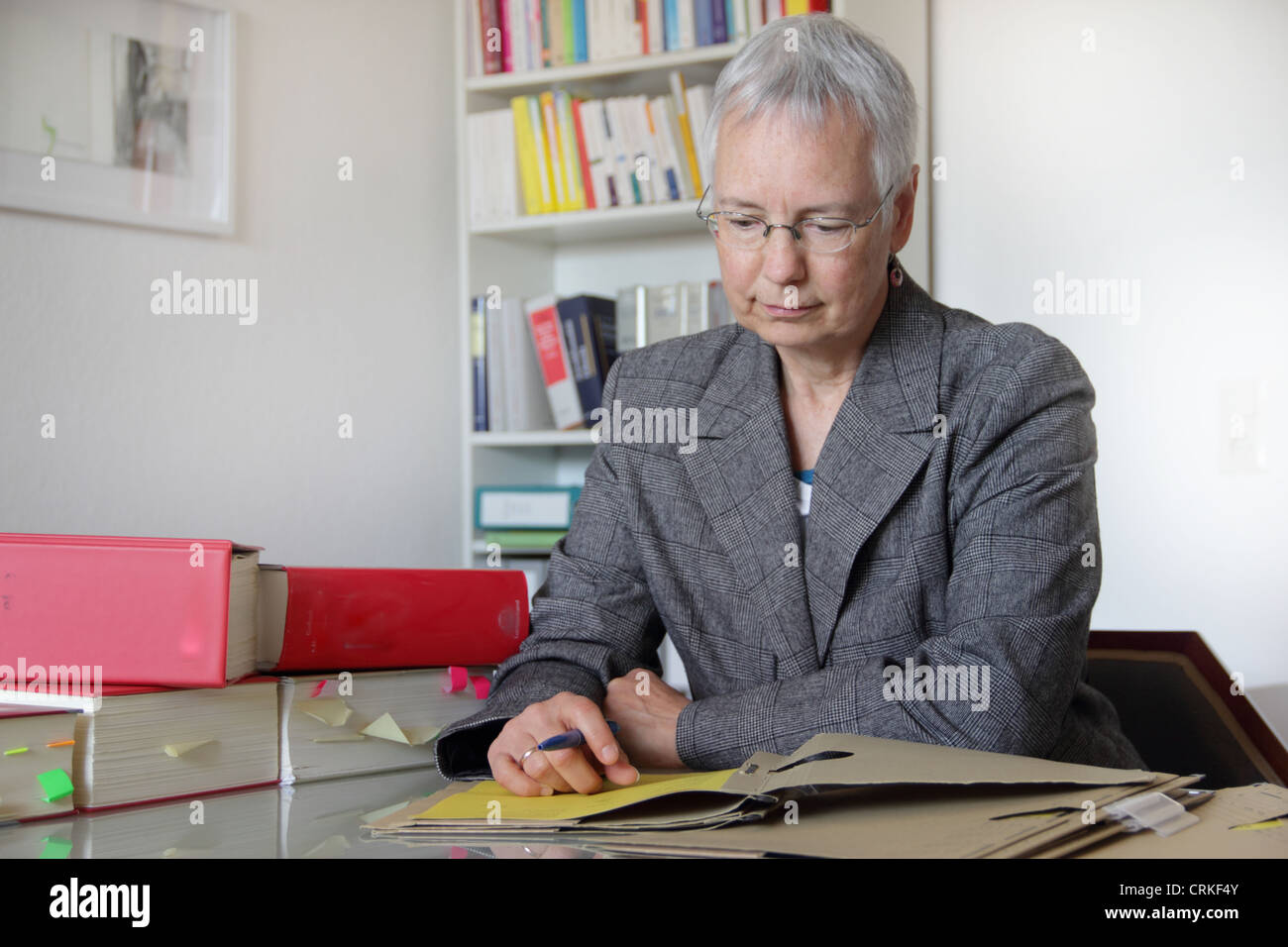 Lawyer reading notes in office - Stock Image