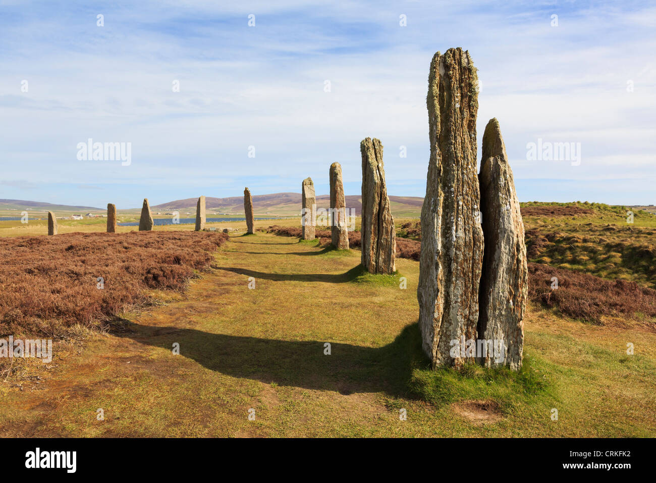 Scottish Orkney Isles Ring of Brodgar Neolithic henge and stone circle of standing stones is largest in Orkneys. - Stock Image