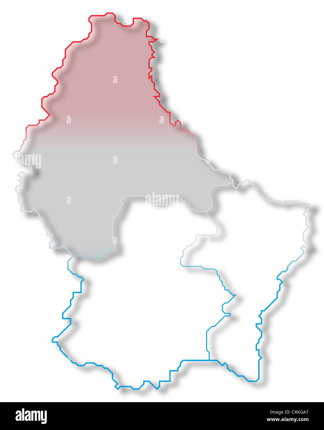 Political map of Luxembourg with the several districts where ...