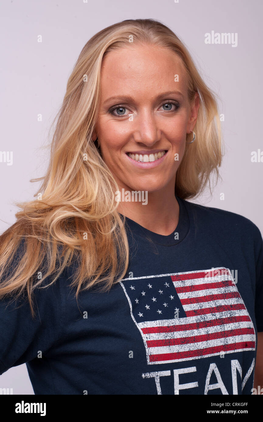 Dana Vollmer, USA Olympian swimmer in the 100 meter butterfly, poses at the USOC Team Media Summit prior to London - Stock Image