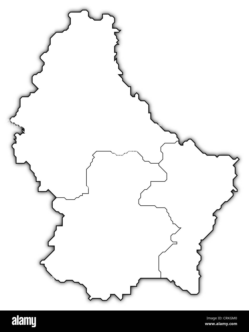 Political map of Luxembourg with the several Districts. - Stock Image