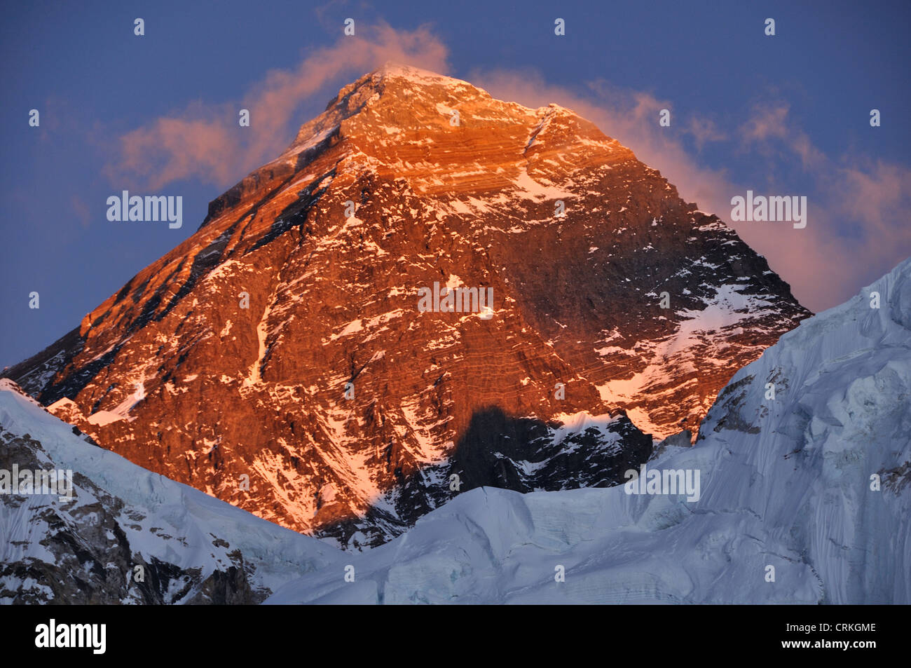 Dramatic Everest Summit Sunset, Showing South West Face - Stock Image