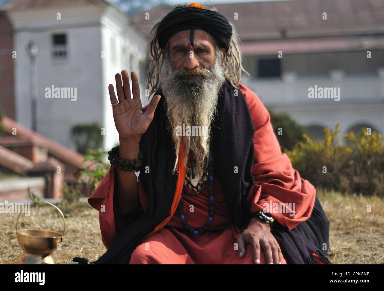Holy Man Sadhu Kathmandu Nepal - Stock Image
