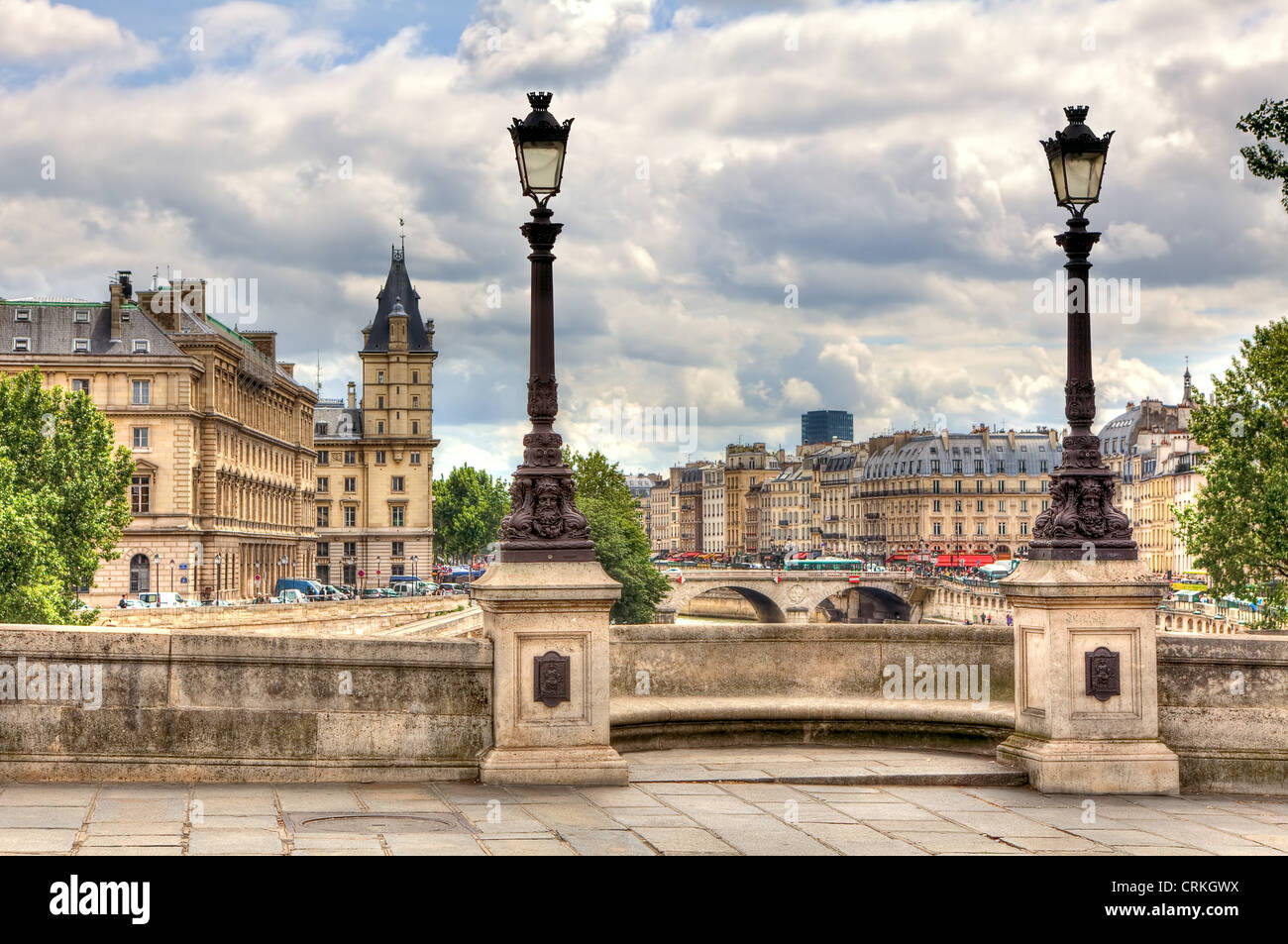 Paris cityscape. View from famous Pont Neuf with traditional lamppost. France. - Stock Image