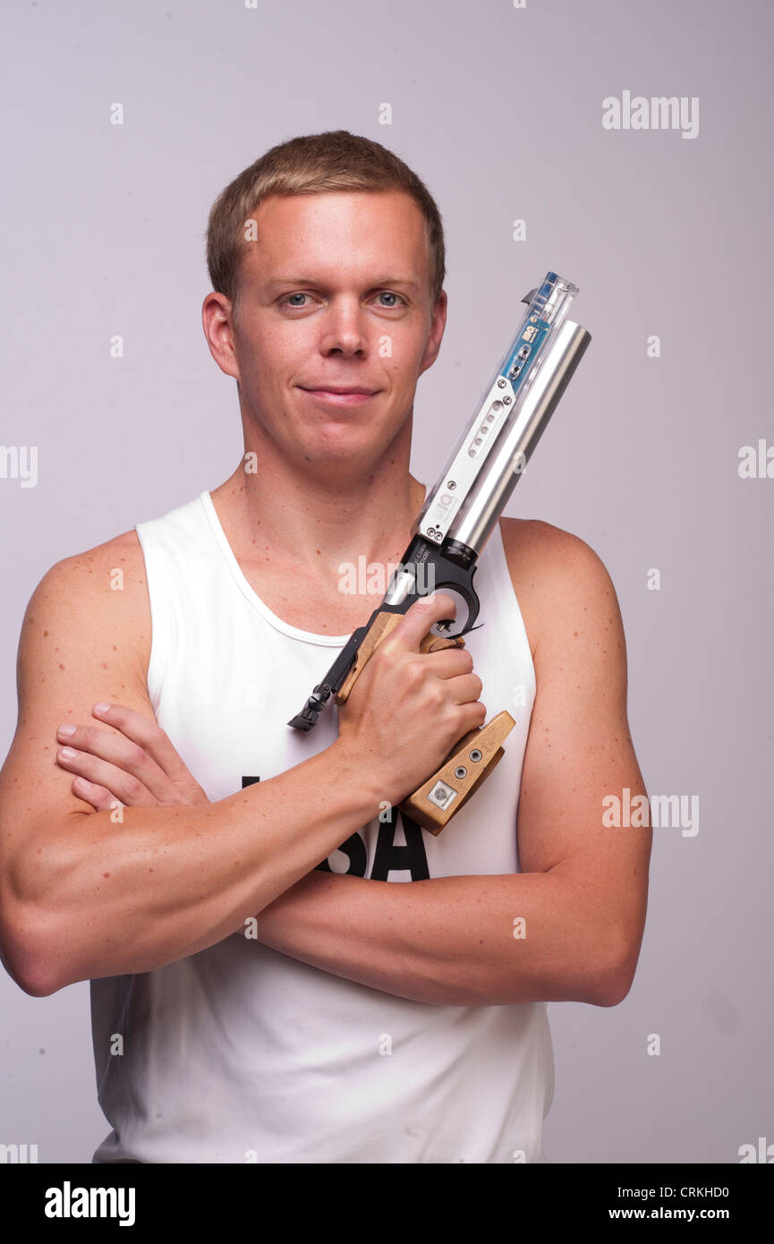 Pentathlete Dennis Bowsher at the Team USA Media Summit in Dallas, TX in advance of the 2012 London Olympics. - Stock Image