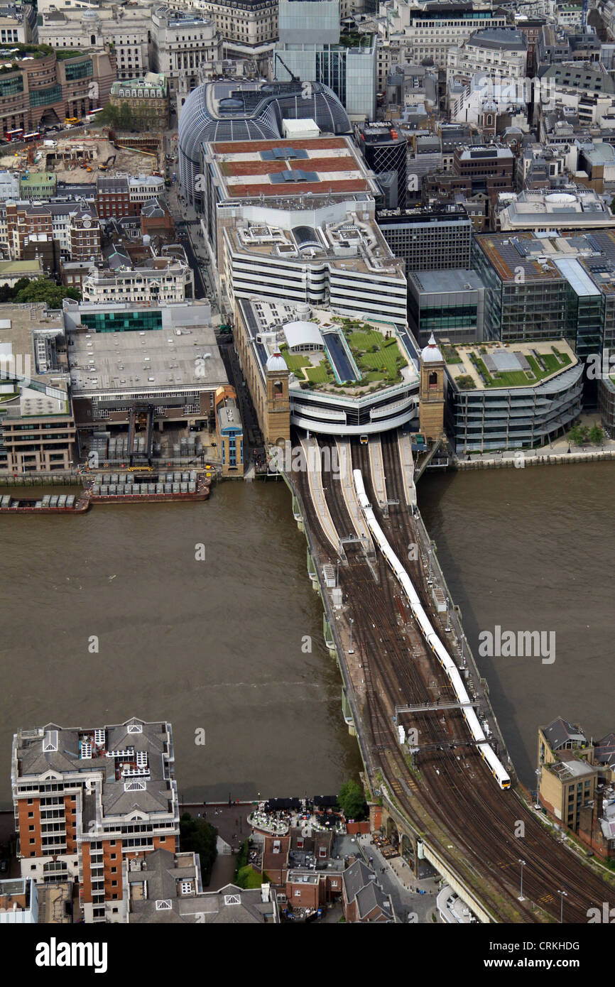aerial view of Cannon Street Station, London EC4 - Stock Image