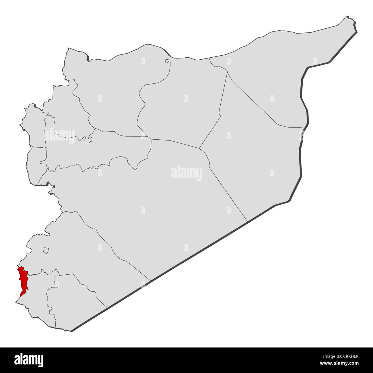 Political map of Syria with the several governorates where ...